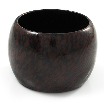 Oversized Chunky Wide Wood Bangle (Dark Brown & Black)