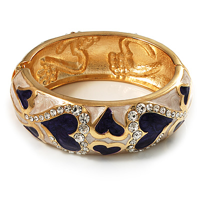 Ivory &amp; Purple Enamel Crystal Heart Hinged Bangle Bracelet (Gold Tone)