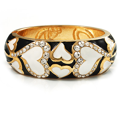 Black &amp; White Enamel Crystal Heart Hinged Bangle Bracelet (Gold Tone)