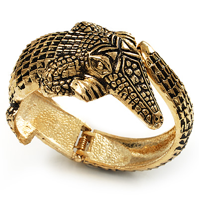 Vintage Crocodile Hinged Bangle Bracelet (Antique Gold Tone)