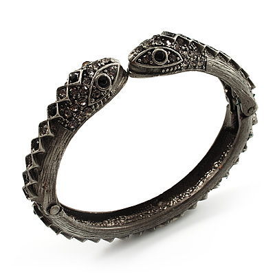 Vintage Diamante Snake Hinged Bangle Bracelet (Antique Silver)