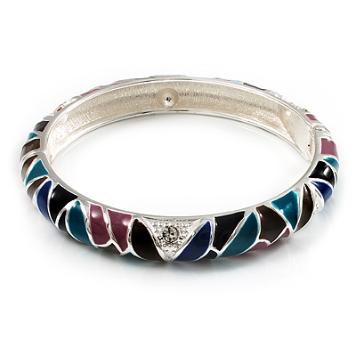 Thin Multicoloured Enamel Hinged Bangle Bracelet (Silver Tone)