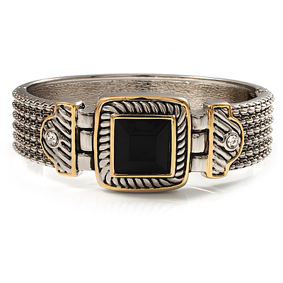 Two Tone Mesh Hinged Bangle Bracelet - main view