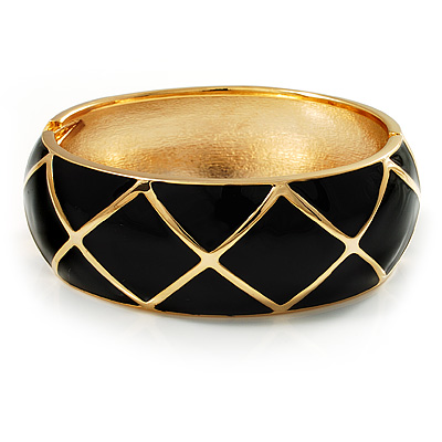 Wide Black Enamel Ornamental Hinged Bangle Bracelet (Gold Tone)
