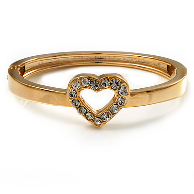 Romantic Crystal Heart Hinged Bangle Bracelet (Gold Tone)