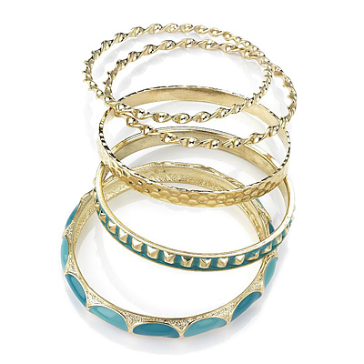 Set Of 5 Pcs Metal Gold Bangles (Light Blue Enamel)