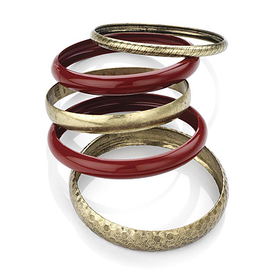 Set Of 5 Pcs Bronze Metal Smooth &amp; Hammered Bangle (Red)