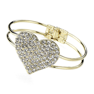 Gold Diamante Heart Hinged Bangle