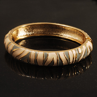 Ivory & Light Grey Hinged Bangle Bracelet (Gold Tone)