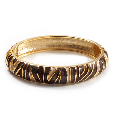Beige &amp; Brown Enamel Hinged Bangle Bracelet (Gold Tone)