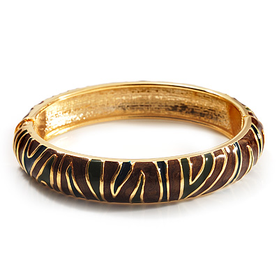 Brown &amp; Olive Green Enamel Hinged Bangle Bracelet (Gold Tone)