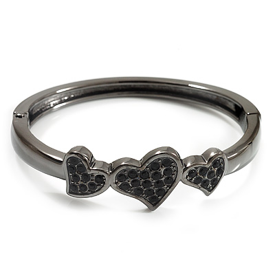 Gun Metal Diamante Heart Hinged Bangle Bracelet - main view