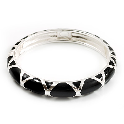 Black Enamel &#039;Criss Cross&#039; Hinged Bangle Bracelet (Silver Tone Metal) - main view