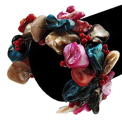 Multicoloured Floral Shell & Simulated Pearl Cuff Bracelet (Silver Tone) - main view