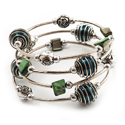 Silver-Tone Beaded Multistrand Flex Bracelet (Forest green) - main view