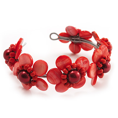 Coral Red Floral Shell Flex Cuff Bracelet - main view