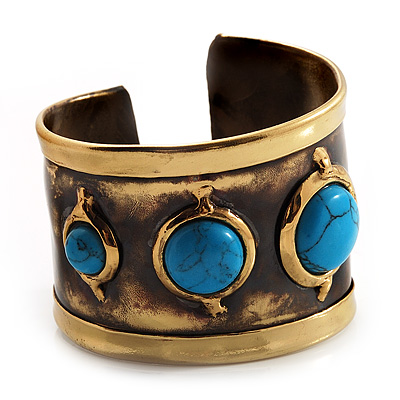 Handmade - Antique Gold Finish Turquoise Bead Wide Ethnic Cuff - Adjustable