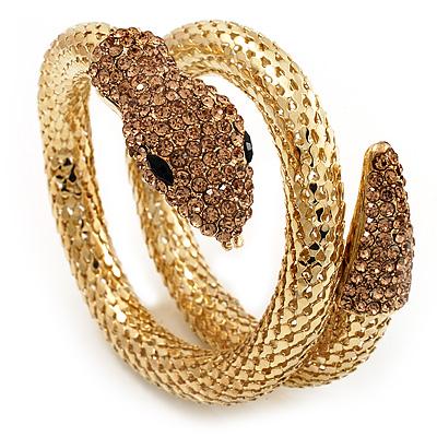 Dazzling Coil Flex Snake Bangle Bracelet (Gold Tone)