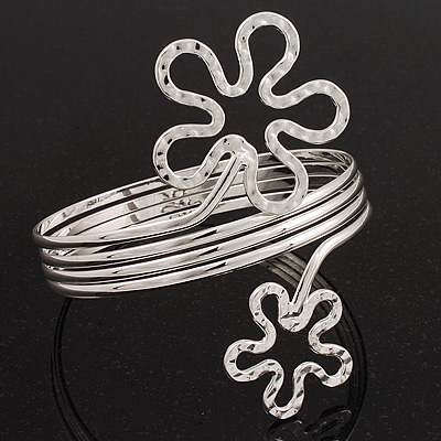 Rhodium Plated &#039;Flower&#039; Upper Arm Bracelet Armlet