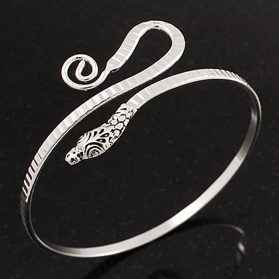 Rhodium Plated Snake Upper Arm Bracelet Armlet - main view
