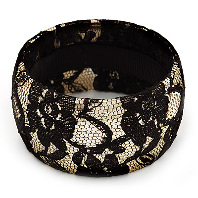 Gold Tone Bangle With Black Braid Lace - 17cm Length