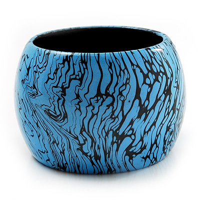 Oversized Chunky Wide Wood Bangle (Black & Bright Blue)