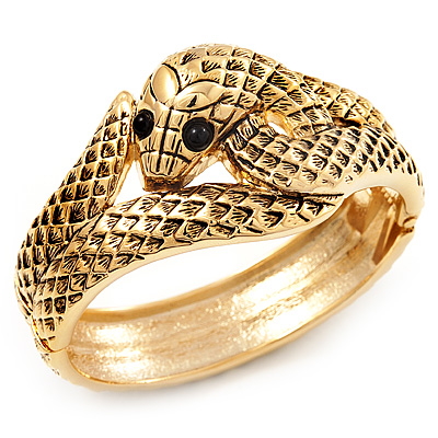 Antique Gold Snake Bangle Bracelet