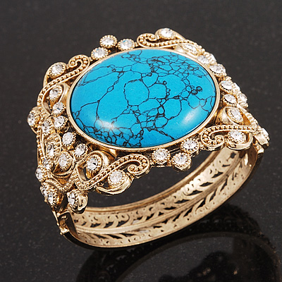 Victorian Gold Crystal Turquoise Hinged Bangle Bracelet