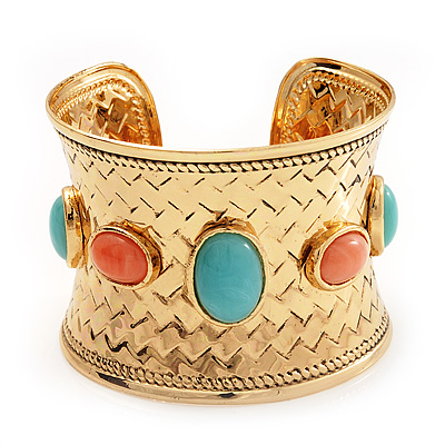 Wide Gold Plated Turquoise Style Cuff Bangle - 19cm Length