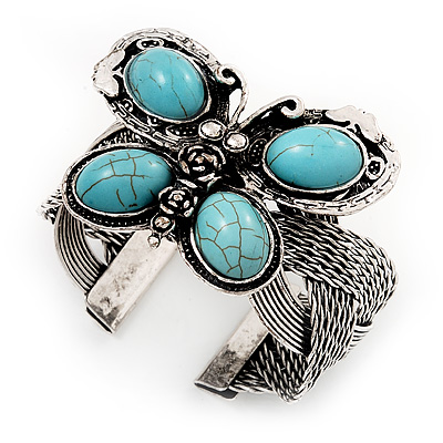 Vintage Turquoise Style Butterfly Cuff Bracelet In Antique Silver Metal - Adjustable