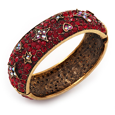 Burgundy Red 'Heart & Star' Swarovski Crystal Hinged Bangle Bracelet In Antique Gold Metal -19cm Length