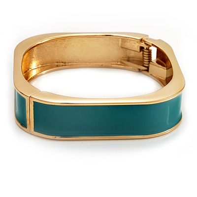Avalaya Turquoise Coloured Enamel 'Leaf' Hinged Bangle In Gold Plated Metal - 18cm Length P5NJMS