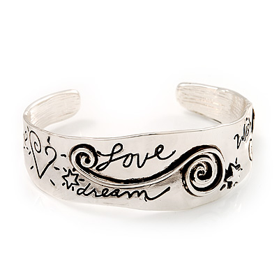 &#039;Love, Peace, Dream, Hope &amp; Wish&#039; Cuff Bracelet In Silver Tone Metal - 18cm Length