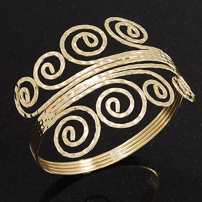 Gold Plated Textured 'Spiral' Upper Arm Bracelet Armlet - Adjustable