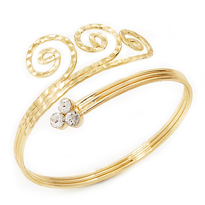 Gold Plated Textured Crystal &#039;Twirly&#039; Upper Arm Bracelet Armlet