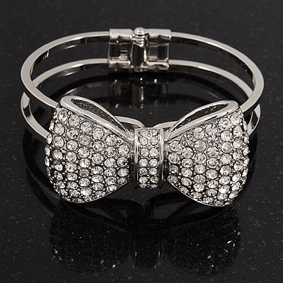 Diamante 'Bow' Hinged Bangle Bracelet In Rhodium Plated Metal - 19cm Length