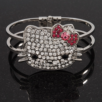 Diamante &#039;Kitten&#039; With Pink Bow Hinged Bangle Bracelet In Rhodium Plated Metal