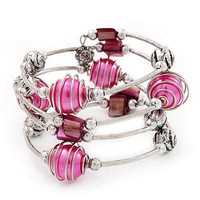 Silver-Tone Beaded Multistrand Flex Bracelet (Fuchsia Pink)