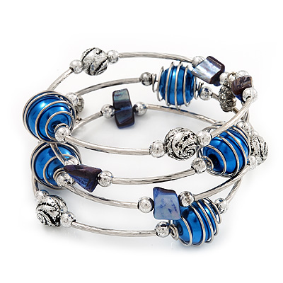 Silver-Tone Beaded Multistrand Flex Bracelet (Navy Blue) - main view