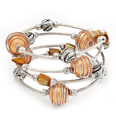 Silver-Tone Beaded Multistrand Flex Bracelet (Apricot Yellow)