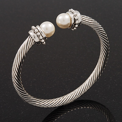 Silver Plated Twisted Pearl Cuff Bangle - Adjustable