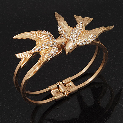 Diamante 'Swallow' Hinged Bangle Bracelet In Matt Gold Metal - up to 19cm wrist