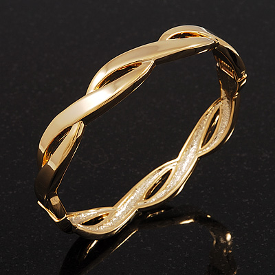 Gold Plated Braided Hinged Bangle Bracelet - up to 18cm wrist