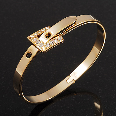 Gold Plated &#039;Belt&#039; Bangle Bracelet - Adjustable up to 19cm Length