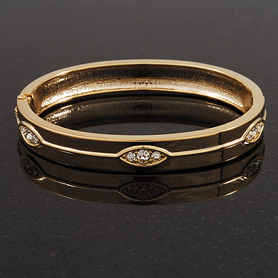Gold Plated Oval Diamante Hinged Bangle Bracelet - 18cm Length