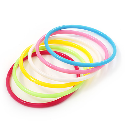 Set Of 6 Pcs Multicoloured Plastic Teens&#039; Bangles up to 18cm wrist