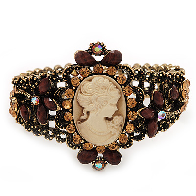 Victorian Style Cameo Brown/Citrine Diamante Bangle Bracelet (Burn Gold Finish)