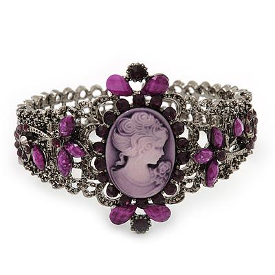 Victorian Style Cameo Purple Diamante Bangle Bracelet (Burn Silver)