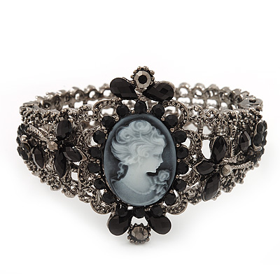 Victorian Style Cameo Black Diamante Bangle Bracelet (Gun Metal Finish)