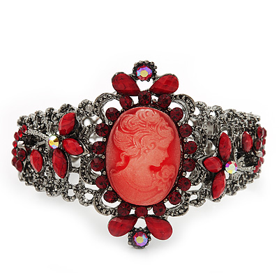 Victorian Style Cameo Red Diamante Bangle Bracelet (Gun Metal Finish)